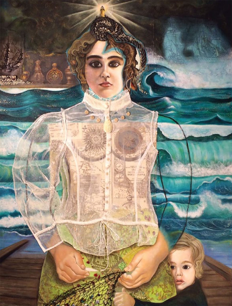 Erica Chappuis, The Sailor's Wife, 2014, Acrylic and mixed media on canvas, 36 x 48 in. Courtesy of the artist.