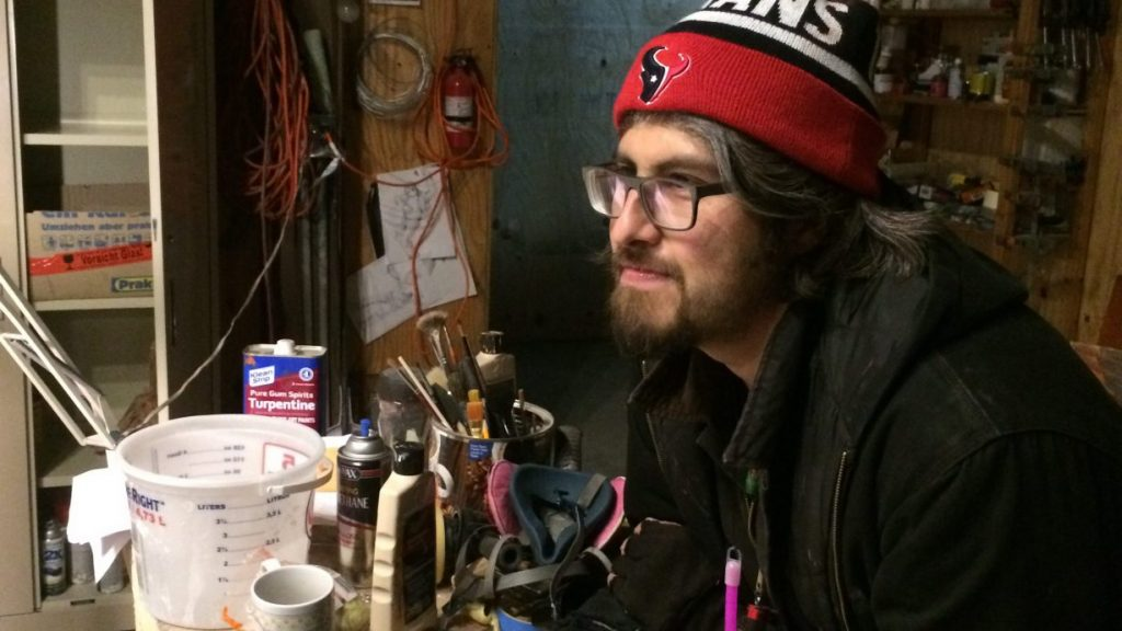 Photo of Peter Daniel Bernal in his studio