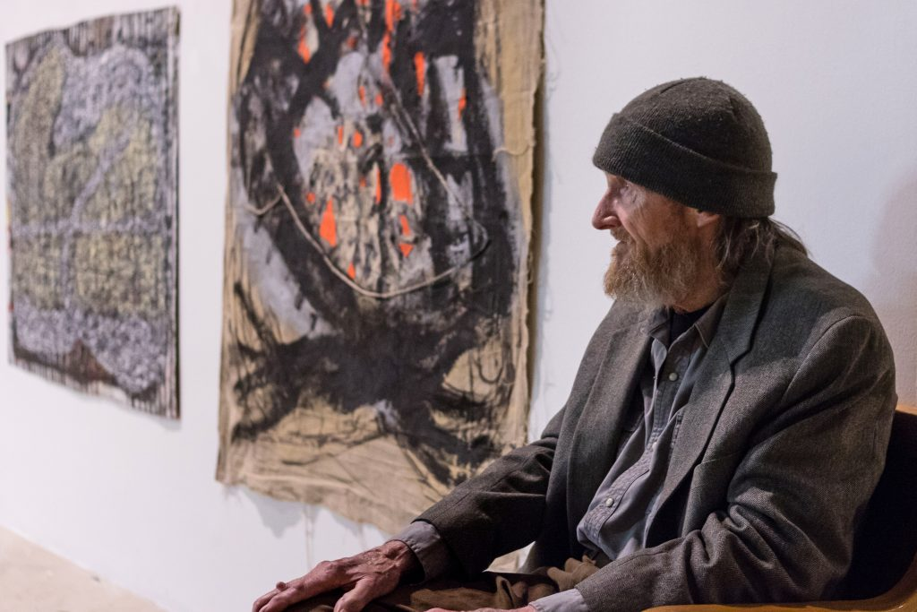 Installation view of Michael Luchs: Fictitious Character with the artist