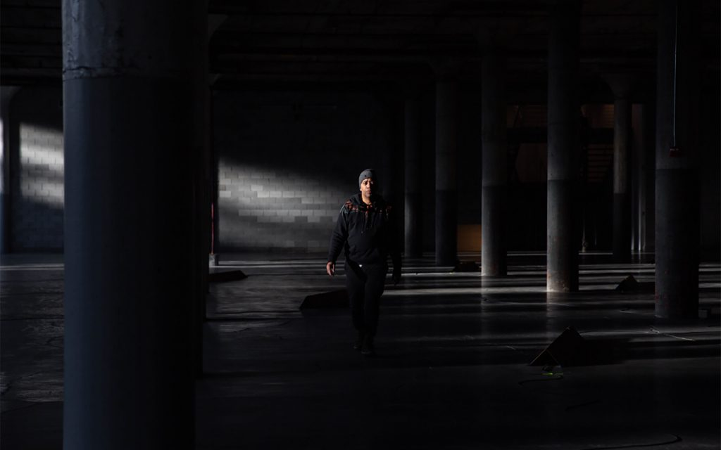 Carl Craig standing in installation space