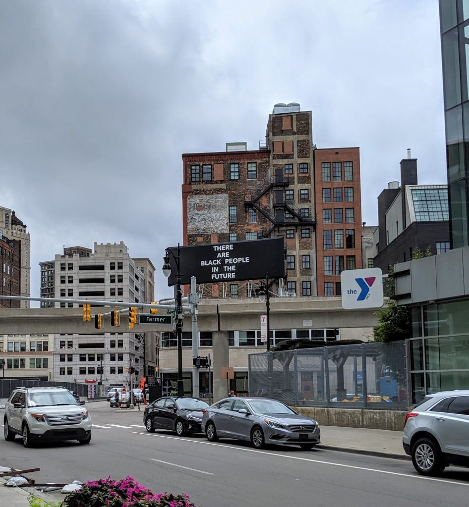 Billboard in Detroit stating
