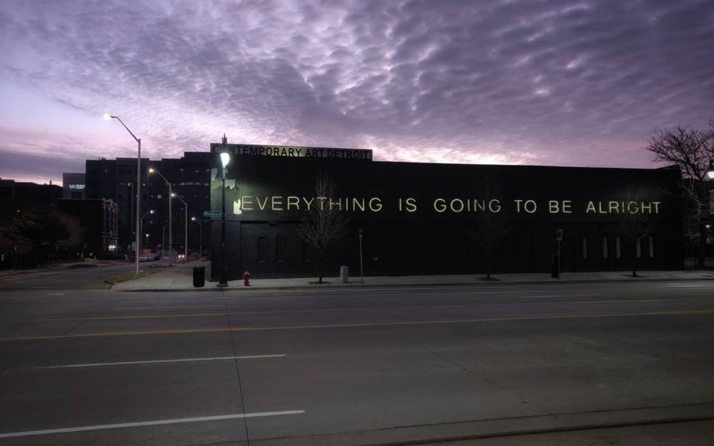 MOCAD Exterior at night from Woodward Avenue 2020