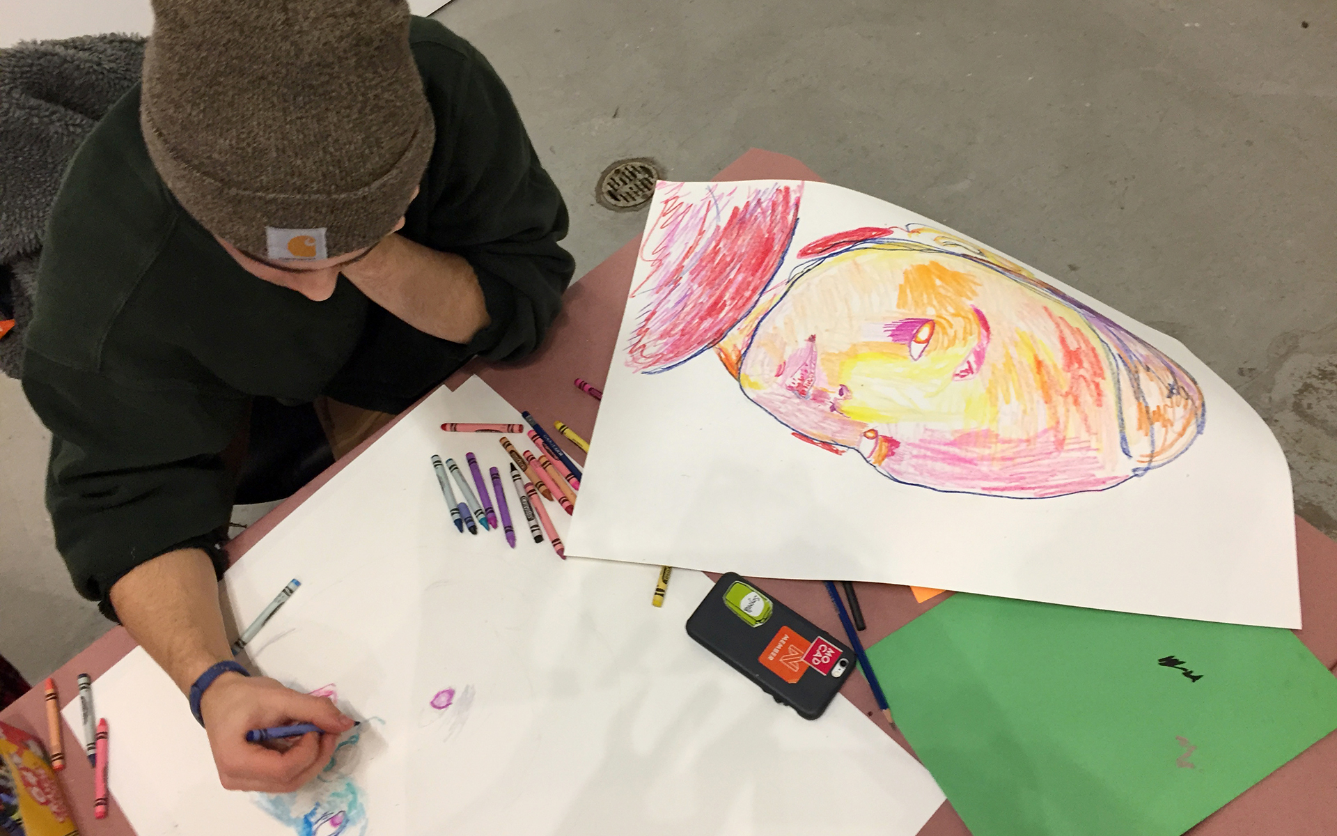 Youth participant in MOCAD's annual Monster Drawing Rally, 2018