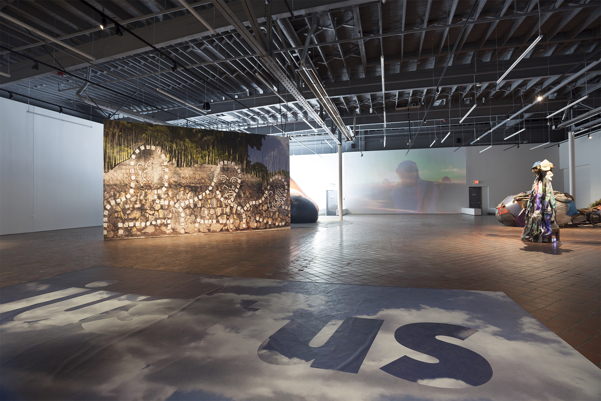 Installation view of the exhibition Sanford Biggers: Subjective Cosmology at MOCAD, 2017